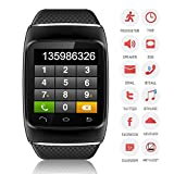 CNPGD® S12 Smart Sync Call SMS Bluetooth Watch Pedometer/Recording/Anti-Lost for iPhone 5S,5,4S,4 Android Samsung S5,S4,S3,S2,Note 3,Note 2(IOS System Can Use Partial Function) (All Black)
