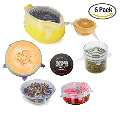 Silicone Stretch Lids,Set Of 6 pcs Multi Size Reusable OUNLIFE Silicone Lids Cover Clear For Containers,Mugs,Mason Jars And Bowls,Great For Keeping Food And Drinks Fresh (Banana Leaf Lid compare prices)