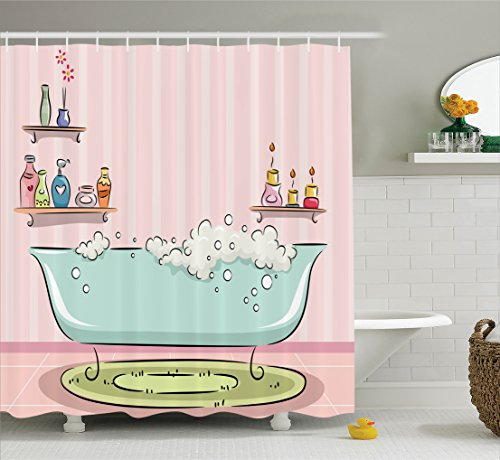 Ambesonne teens girls women decor Collection, Illustration of Bathtub with Bubbles in Girly Room Aroma Oil Lamps Aromatherapy, Polyester Fabric Bathroom Shower Curtain, 84 Inches Extra Long, Pink Blue (Teen Aroma compare prices)