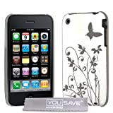 Yousave Accessories IMD Butterfly Hard Hybrid Back Cover Case for Apple iPhone 3G/3GS - White/Silverby Yousave Accessories