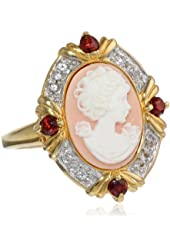 Sterling Silver Created White Sapphire, Semi Garnet and Pink Cameo Ring, Size 7