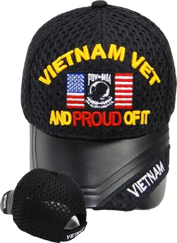 Vietnam Veteran Leather Cap/ Hat, Vet and Proud of It, American Flag