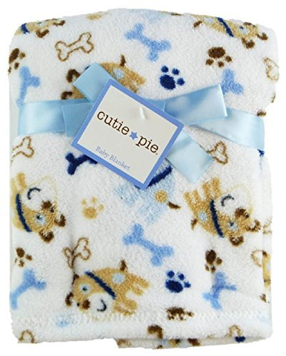 "Cutie Pie 30"" x 36"" Fleece Baby Blanket (White - Puppy Dog) - 1"