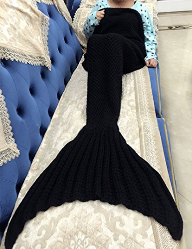 FADFAY Meerjungfrau Decke Strickmuster Decke Meerjungfrau Schwanz Decke Kinder und Erwachsene Stil, schwarz, Adults Style