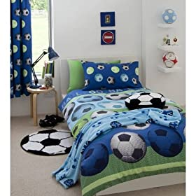 Cute SOCCER BLUE FULL BED QUILT COVER DUVET SET price
