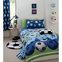 SOCCER BLUE FULL BED QUILT COVER DUVET SET