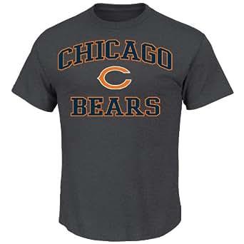 NFL Heart & Soul Chicago Bears Basic Tee, Charcoal Hearther, Charcoal Hearther, X-Large