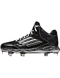pictures of Adidas PowerAlley 2 Mid Mens Baseball Cleat 13 Black-Carbon Met-Carbon