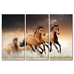 Canvas Print Wall Art Painting For Home Decor Running Wild Horse Brown Horses Galloping In Dust In Sunset 3 Piece Panel Paintings Modern Giclee Stretched And Framed Artwork The Picture For Living Room Decoration Animal Pictures Photo Prints On Canvas