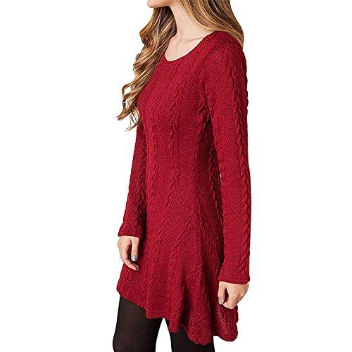 YIMA Vestito signore a maniche lunghe maglione A-Line abito in jersey vestito lavorato a maglia rosso X-Large