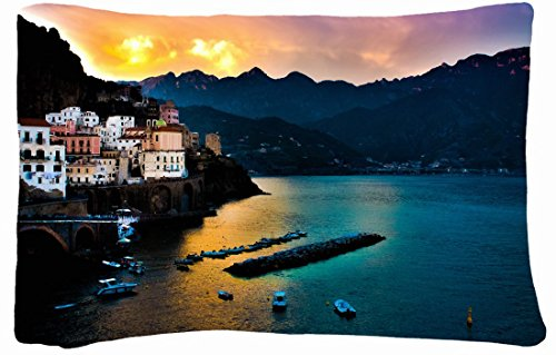 Microfiber Peach Queen Size Decorative Pillowcase -City Amalfi Italy City Sea Sunset front-748390
