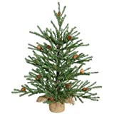 18″ Carmel Pine Artificial Christmas Tree with Pine Cones and Burlap Base – Unlit image