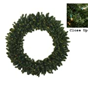 48 Pre-Lit Canadian Pine Artificial Christmas Wreath - Clear Lights