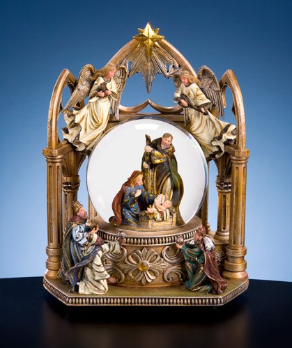 San Francisco Music Box Company - Gold Nativity Water Globe