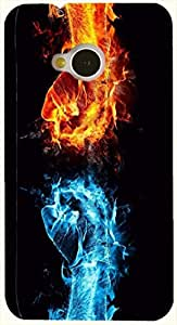 Amazing multicolor printed protective REBEL mobile back cover for HTC One M7 D.No.N-L-18845-M7