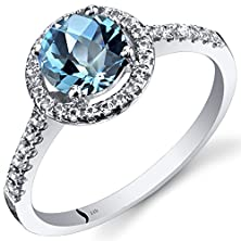 buy 14K White Gold Swiss Blue Topaz Halo Ring Round Checkerboard Cut 1.25 Carats Size 9