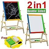 M&G Wooden Floor Art Easel, Chalkboard & White Board