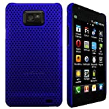 Wayzon Clip On Protection Hybrid Armour Back Case Cover Skin Pouch Shell Holster Blue Mesh Net Design For Samsung i9100 Galaxy SII S2 Phone