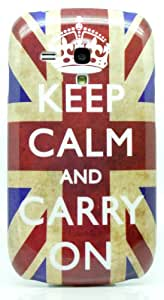 Samsung Galaxy S3 Mini GT I8190 Keep Calm And Carry On On Vintage UK Flag Retro Image Design Case Slim Fit Hard Back Protective / Shell / Case / Cover / Skin / Protector / Mobile / Accessories