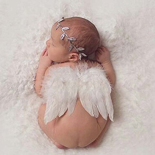 [Distinct® Newborn Baby Silver Leaf White Angel Wings Costume Photo Photography Prop Outfits] (Newborn Angel Wings)