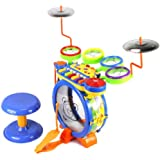 Junior DJ Drum Band 2-in-1 Children's Musical Instrument Toy Drum & Keyboard Play Set, 7 Key Piano w/ 5 Drums, 2 Cymbals, DJ Mixer, Animal Sounds