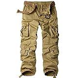 Men's Loose Cotton Cargo Pants#7533,Khaki,32