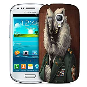 Snoogg Colonel Meow Printed Protective Phone Back Case Cover For Samsung S3 Mini / S III Mini