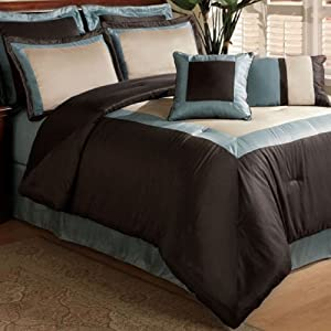 Central Park Luxury Hotel Blue 8 Piece Comforter Set - King