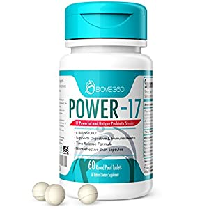 Power-17 Probiotics Supplement By Biome360, 17 Strains and 6 Billion CFU; BIO-tract® Patented Delivery Technology is 20 Times More Effective. Promote Gut Digestive Health and Microbiome Diversity.