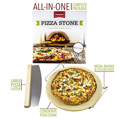 Cordierite Pizza Stone Cooking Kit with Pizza Cutter - 13