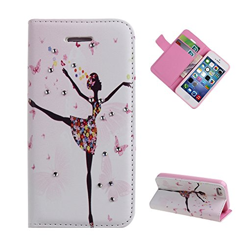 iPhone 5C Case,UZZO Butterfly Flower Fairy Angel Girl Inlaid Bling Glitter Diamond PU Leather Slim Fit Folio Wallet Stand Flip Case Cover With Card Holders For iPhone 5C(Dancing Girl)