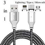 ACALI 3 in 1 Magnetic Cable Type C Micro USB Lighting Cable Charging Data Transmission Cord for iPhone X 8 7 7 plus/ 6 6s Plus/iPad Samsung Galaxy S6 S7 S8 plus Note 2/3/4/5 Lg V20 Gen2 iOS Android