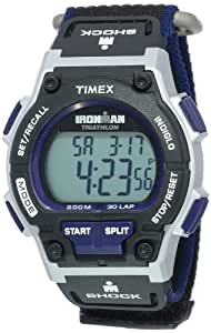 Timex Men's T5K198 Ironman Classic Shock 30-Lap Black and Blue Digital Watch