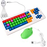 "DURAGADGET Colourful ""Kid's Proof"" Childrens, Special Needs Or Sight impaired PC Keyboard PS2/USB - Great For Teaching / Learning + BONUS Fun 'Novelty' Turtle Shaped Mouse & 4 Port USB 2.0 Octopus Hub"
