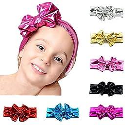 ZHW Baby Girl\'s Cotton Turban Headband Hair Flower Hairband (7 pack bowknot)