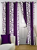 "Story@Home Eyelet Fancy Polyester 2 Pc COMBO Ringtop Eyelet Designer Door Curtains,  7 ft  46 "" X 84 "" Purple"