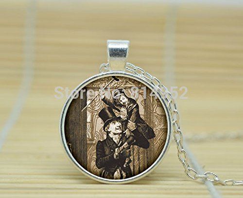 VintaStore Art Glass Necklace Charles Dickens Necklace Charles Dickens Pendant Victorian England Jewelry A1668