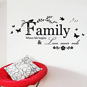 """Family, when life begins, love never ends"" Living Room Wall Decals Decoration by Mustbe"