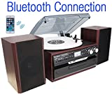 7-in-1 Boytone BT-24DJM Turntable with Bluetooth Connection, 3 Speed 33, 45, 78 Rpm, CD, Cassette Player AM, FM USB, SD Slot, Aux Input. Encoding Vinyl & Radio & Cassette To-MP3, Remote control.