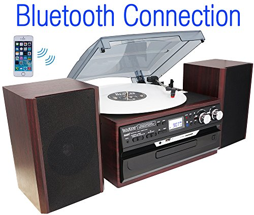 7-in-1-Boytone-BT-24DJM-Turntable-with-Bluetooth-Connection-3-Speed-33-45-78-Rpm-CD-Cassette-Player-AM-FM-USB-SD-Slot-Aux-Input-Encoding-Vinyl-Radio-Cassette-To-MP3-Remote-control