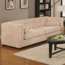 Hot Sale Coaster Alexis Collection Sofa Couch in Almond Microvelvet