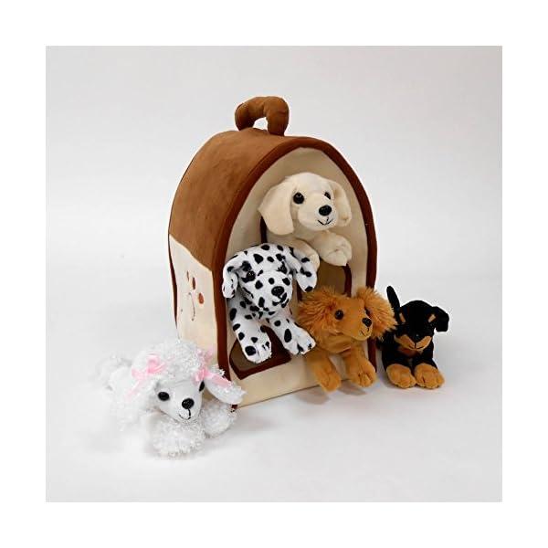 Plush Dog House Five 5 Stuffed Animal Dogs Dalmation Yellow Lab