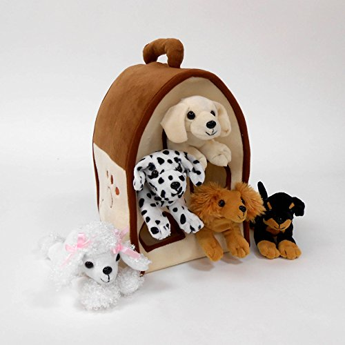 plush-dog-house-five-5-stuffed-animal-dogs-dalmation-yellow-lab-rottweiler-poodle-cocker-spaniel-in-