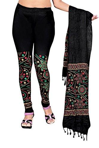 Snija Fashion Women's Chiffon Leggings (PRDL2105B__Black_X-Large)