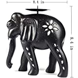 1pc Wooden Metal Vintage Carved Elephant Candle Holder Tea Light Gift Decor(Black ).