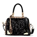 Leopard and Black Sequined Ladies Top Handle Tote Purse Party Bag Satchel