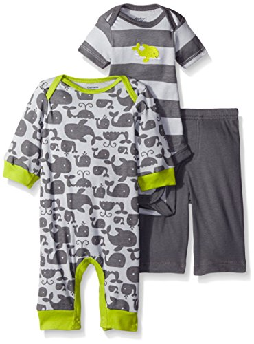Gerber Baby Three Piece Coverall Bodysuit and Pant Set, Whale, 18 Months