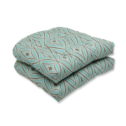 Pillow Perfect Outdoor Centro Mist Wicker Seat Cushion, Set of 2 photo