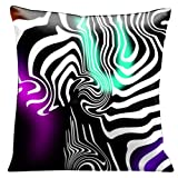 Lama Kasso Contempo Brilliant White Graphics on Black, Purple and Peppermint Green Satin 18-Inch Square Pillow, Design on Both Sides