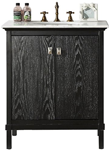 "Legion Furniture WH5330-BL Wood Sink Vanity With Marble Top and Without Faucet, 30"", Antique Black"